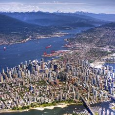 Vancouver, looking north east at downtown, Burrard Inlet harbour, North Vancouver and the Coast Mountains, Canada. by Evan Leeson. Vancouver Bc Canada, Vancouver City, Vancouver British Columbia, Vancouver Island, Vancouver Skyline, Montreal Canada, Great Places, Places To See, Beautiful Places