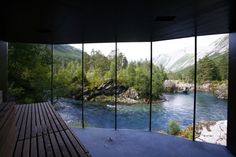 Relaxation Room with view of a stream