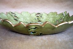 Hand Built Pottery Carved Rose Lace Bowl by dgordon on Etsy