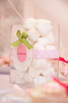 Shabby Chic Baby Shower - Different style serving dishes and jars give the table depth and dimension.