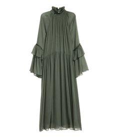 Crinkled Ruffled Dress | Dark green | Ladies | H&M US