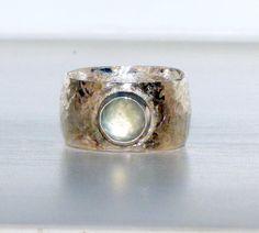 Handmade distressed, primitive, unique wide band wedding ring- medieval dark sterling silver gemstone wedding band- renaissance wedding band on Etsy, $185.00