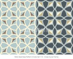 Retro Seamless Pattern 2 Color Set_114 Cross Curve Frame