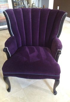 Vintage Channel Chair with Purple and Charcoal Velvet by Element20, $695.00