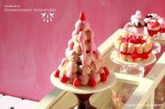 Hummingbird Miniatures: Strawberry Profiteroles for your Valentine!