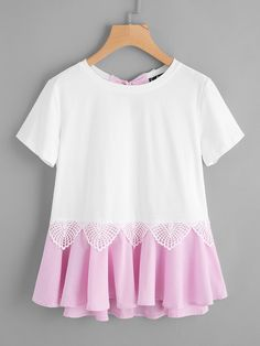 Shop Striped Bow And Ruffle Hem Mixed Media Tee online. SheIn offers Striped Bow And Ruffle Hem Mixed Media Tee & more to fit your fashionable needs. Girls Fashion Clothes, Fashion Outfits, Clothes For Women, Cute Fashion, Girl Fashion, Kids Outfits, Cool Outfits, Modern Outfits, Handmade Clothes