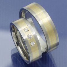 Gold und Steel Trauringe aus Edelstahl und 585 Gelbgold PB209768