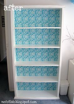 Cloth Modge Podged Shelves for Caroline's bedroom.  Ya know, so it's not the same old thing.