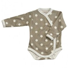 Body long sleeve, beige/taupe with dots, Organics For Kids/Pigeon Organics