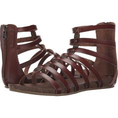 Blowfish Groomie (Whiskey Dyecut PU) Women's Shoes ($30) ❤ liked on Polyvore featuring shoes, sandals, brown, gladiator sandals, brown sandals, strappy shoes, blowfish sandals and synthetic shoes