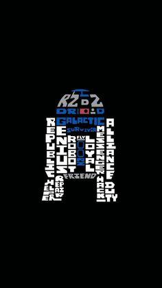 スターウォーズフォースの覚醒/R2-D2のタイポグラフィ iPhone壁紙 Wallpaper Backgrounds iPhone6/6S and Plus  Star Wars iPhone Wallpaper