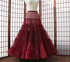 Petticoat Granat Rot Chiffon Stock Länge einlagige von DawnsAtelier