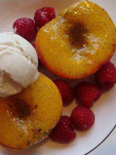 peaches, peach, ice cream, raspberries, dessert, summer, memorial day, holiday, holidaze