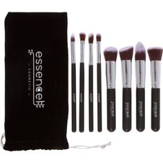 Essencell Makeup Brushes Premium Synthetic Kabuki Cosmetic Makeup Brush Set - Foundation,Powder, Blending Blush / Bronzer, Concealer / Contour, Eye Shadow Brush Kit (8PCs, Black Sliver)