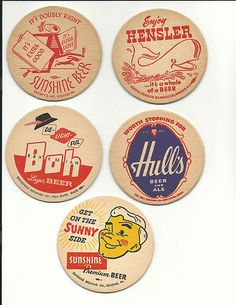 coasters- graphic inspiration Retro Design, Vintage Designs, Graphic Design, Sous Bock, Bar Coasters, Beer Mats, American Beer, Coaster Design, Vintage Labels