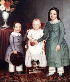 Three Cummins Children and a Dog of Lafayette, NJ 1845