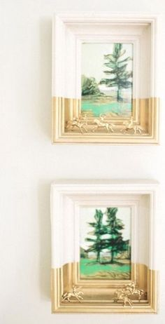 cool idea for framing: spray paint toys that goes with the painting