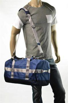 Armani Exchange Mens A/X Giorgio Blue Shoulder Duffle Bag Duffel Tote NEW