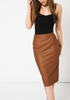 3238312efb5 Leather Look Skirt Available in Plus Size
