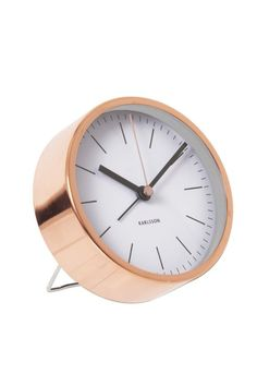 Copper-plated station-style alarm clock with white dial