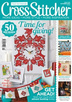 October 2014 issue of CrossStitcher magazine Cross Stitch Magazines, Cross Stitch Books, Front Cover Designs, October 2014, Diy Embroidery, Crossstitch, Magazine Covers, Crocheting, Merry