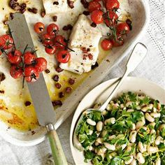 Roasted fish with bean and herb salad recipe. A roasted fish supper for four that will only cost you £5 a head for the whole menu! Serve with Roast Parmesan and Mustard new potatoes and Black forest cherry dessert. Great for midweek entertaining.