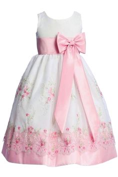 White & Pink Floral Embroidery Organza Overlay Dress with Taffeta Trim (Girls 6 months - Size 7)