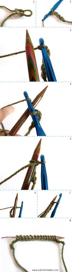 Provisionally Casting On With A Crochet Hook | Eskimimi Makes - via http://bit.ly/epinner << I use this non-provisionally too (just use the working yarn, and don't bother with a chain at the start/end). Makes a great match to the standard knitted bind-off edge.
