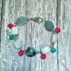 White Bead Bracelet | Pink Bead Bracelet | Teal Bridesmaid Jewelry | Pink…