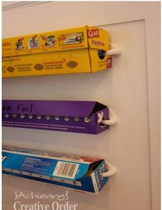 Achieving Creative Order: It's a Wrap----Dispenser! Good idea - I could just tweak it by using a paper towel wall hanger or a small curtain rod and hardware. Diy Kitchen, Kitchen Storage, Kitchen Wrap, Kitchen Ideas, Pantry Organization, Organizing Ideas, Pantry Ideas, Organising, Ideas Para Organizar