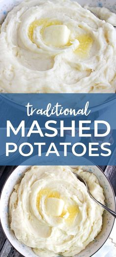 These Traditional Mashed Potatoes are easy to make, creamy, fluffy, and exactly what your basic mashed potato recipe should be! Quick Potato Recipes, Potatoe Casserole Recipes, Side Dish Recipes, Potato Side Dishes, Best Side Dishes, Vegetable Side Dishes, World's Best Food, Good Food, Creamy Pasta Bake