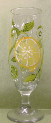 From Pizazz Studio in Loveland, Ohio, an adorable, hand painted glass, designed to enjoy your iced tea, lemonade or other fruity drink this summer!