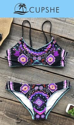 Get inspired by this magic color and Ethnic print. I was attracted at the first sight of Cupshe Song Of Joy Lace Bikini Set! Every girl should have one bikini she can never get tired of wearing, and every bikini should bring out the best of the girl who is unique in this world. Be that girl of sunshine by taking this bikini set to the beach, you will always be the eye-catcher. Free shipping, enjoy~