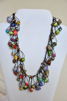 Funky Colorful Ugandan Paper Bead Necklace...