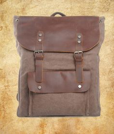 vintage retro genuine leather canvas backpack rucksack school bag (4)