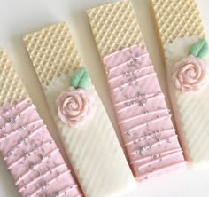 Kate Spade inspired wafer cookies are for a bridal shower! Wedding Day Cake Bridal Shower For 2019 Not the pink flower Candy Bar Party, Candy Table, Chocolate Covered Treats, Chocolate Cookies, Tea Party Birthday, Baby First Birthday, Wafer Cookies, Baby Shower Desserts, Fancy Desserts