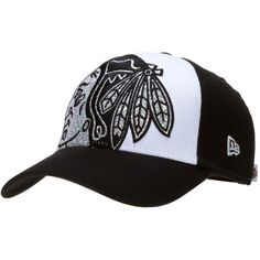 Chicago Blackhawks Womens Black and White Glitter Glam Indian Head Logo Adjustable Hat by New Era #Chicago #Blackhawks #ChicagoBlackhawks