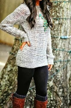 love the sweater, leggings and boots look!