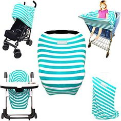 $15 Stretchy Stripes 5-in-1 Baby Car Seat Canopy, Stroller Shade, Shopping Cart Cover, High Chair Cover and Nursing Cover All-In-One Universal Fit in Teal and White Stripes by Luvit, http://www.amazon.com/dp/B01FX1ZSN4/ref=cm_sw_r_pi_s_awdm_3W.ExbA4015T6