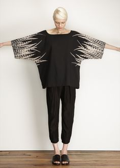 UZI Exclusive Feathers Kimono Top (Black)...is it possible not to love feathers...I don't think so.
