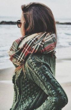 #street #style fall / green knit + plaid...