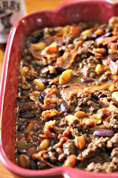 BBQ Baked Beans - this side dish is so hearty it eats like a meal all by itself