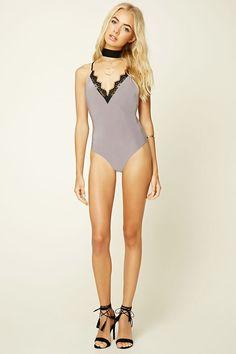 V-Neck Lace-Trim Bodysuit