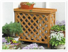 Air conditioner cover/ trash cans! Air Conditioner Cover Outdoor, Air Conditioner Screen, Ac Unit Cover, Ac Cover, Hide Ac Units, Outdoor Living, Outdoor Decor, Front Yard Landscaping, Outdoor Projects