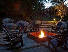 In Ground Square Fire Pit, Adirondack Rockers Fire Pit Zaremba and Company Landscape Clarkston, MI