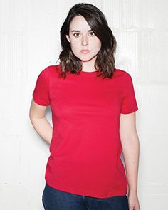 American Apparel Women's Fine Jersey Classic T-Shirt, Red, Small  Special Offer: $9.21  466 Reviews A classic t-shirt featuring a relaxed cut and added coverage to flatter a feminine silhouette. With short sleeves, crew neck and cotton construction.Solid T-shirt with crew...