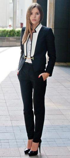White and Black Blazer with Black Slacks and Pumps