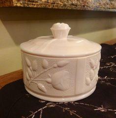 Vintage Round  Covered Powder Jar Shell Pink Milk Glass 1950s Americana on Etsy, $42.00