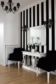 The black and white stripe makes a beautiful feature wall.
