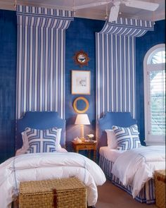 The latest issue of @housebeautiful feature a preppy bedroom designed by @garymcbournie.